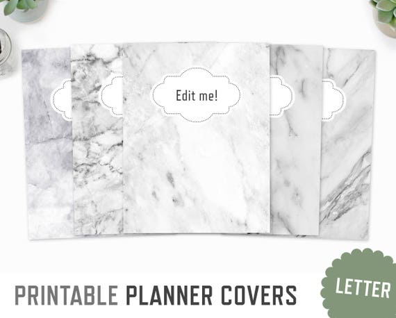 Planner Covers Letter A4 White Marble Cover Planner Etsy