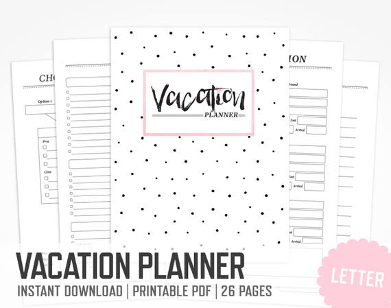Vacation Planner Letter Size Packing List Travel Planner Etsy