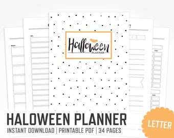 Halloween Planner / Letter size / Halloween Holiday Decorations Planner Scary Movies Halloween Printable Party Organizer / INSTANT DOWNLOAD