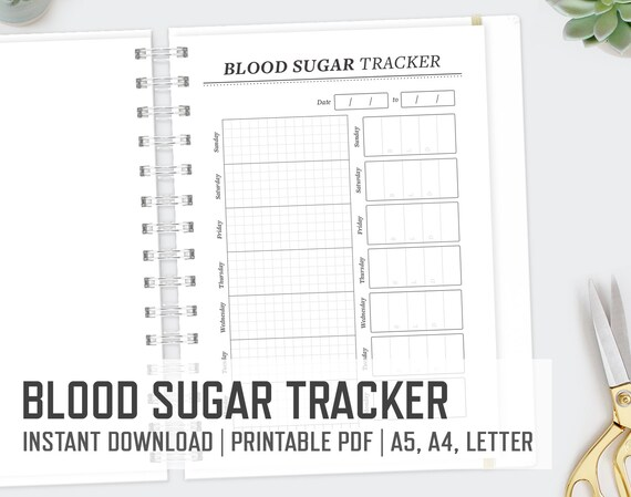 blood sugar tracker a4 a5 letter diabetes printable blood etsy