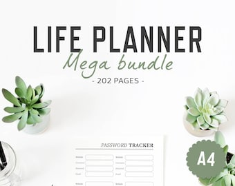 Life Planner / A4 / Life Binder Inserts Life Organizer Printable Binder Inserts Mega Bundle Home Household Finances Work / INSTANT DOWNLOAD