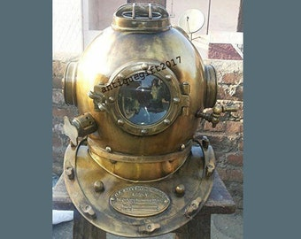 """Navy Buceo Casco Mark V profundo mar casco para buzos Vintage réplica Anchor 18/"""" EE UU"""