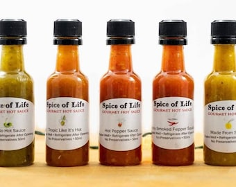 Mini Hot Sauce 5 Gift Pack Variety of Heat Levels from Mild to Scotch Bonnet. Great gift for Hot Sauce Lovers.  Housewarming, Thank You Gift
