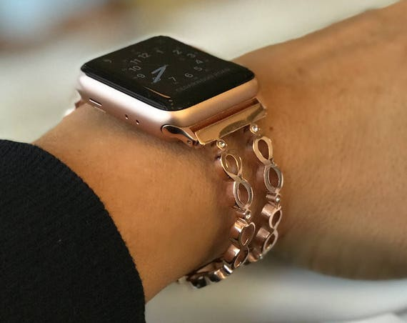 Apple Watch Bangle -  Infinity - silver, gold, rose gold - stainless steel and zirconia stones