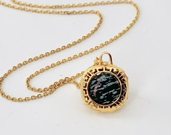Crystal Locket Necklace  - 18K Gold plated - Snowflake Obsidian Gemstone Necklace - Sterling Silver Pendant