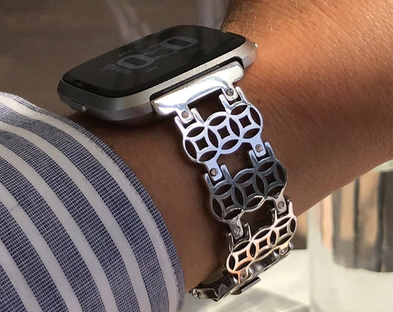 Fitbit Versa Watch Band FLOWER of Life - silver, gold or rose gold - stainless steel