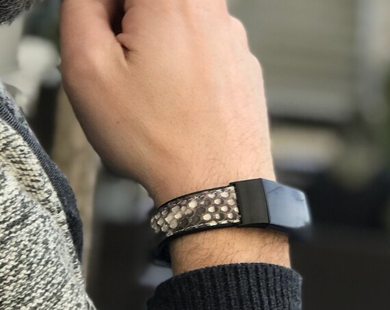Fitbit Charge 3 Band Python - White/Black python leather and stainless steel - hypoallergenic - Silver or  Black finish