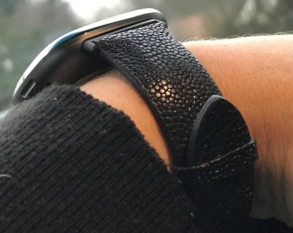 Fitbit Versa 3 / Fitbit Sense watch band STINGRAY  - black  - stainless steel and stingray leather - ships 11/20/2020