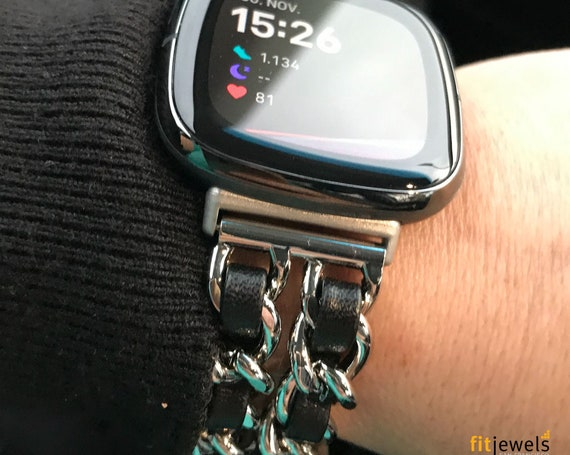 Fitbit Versa 3 / Fitbit Sense Watch Band - Noe - silver, gold or rose gold - stainless steel and leather