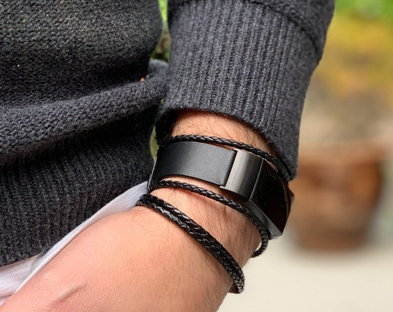 Fitbit Charge 3 Band Aurel - made from leather and stainless steel - hypoallergenic - Silver, Black or Rose Gold