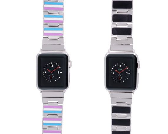 Reversible Apple Watch Band - Color/Black Enamel - Stainless Steel - silver, gold, rose gold or black finished