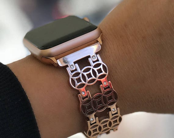 Apple Watch Band -  Flower of Life - silver, gold, rose gold - stainless steel and zirconia stones