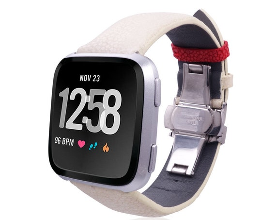 Watch Band for Fitbit Versa STINGRAY by fitjewels - white, red, vine  or black - stainless steel