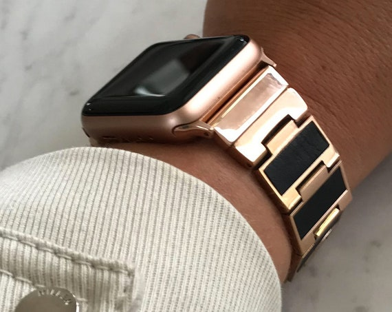 Reversible Apple Watch Band - Glitter/Leather - Stainless Steel - silver, gold, rose gold or black finished