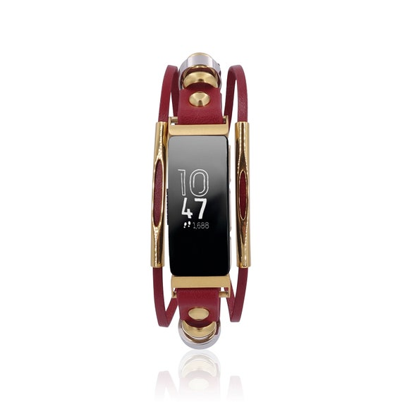 Fitbit Inspire 2 / Inspire / Inspire HR / Ace 2 -  Replacement Bracelet Rockstar with tube bars -  Red - leather replacement band