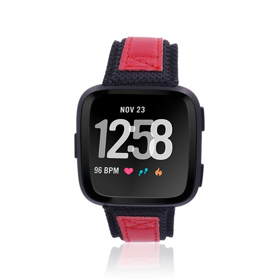 Fitbit Versa Watch Band - NYLON - Black and Red - stainless steel and leather