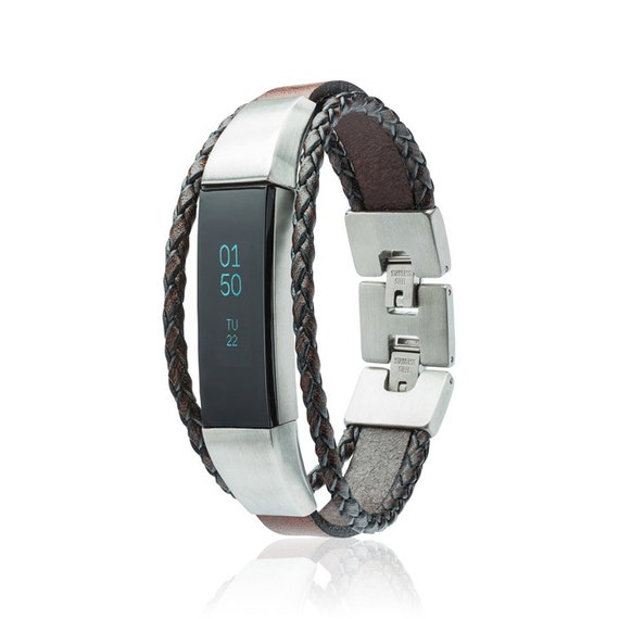 Bracelet  Aurel - Fitbit Alta - Alta HR - Jewelry - Black/Brown - Stainless steel and real leather