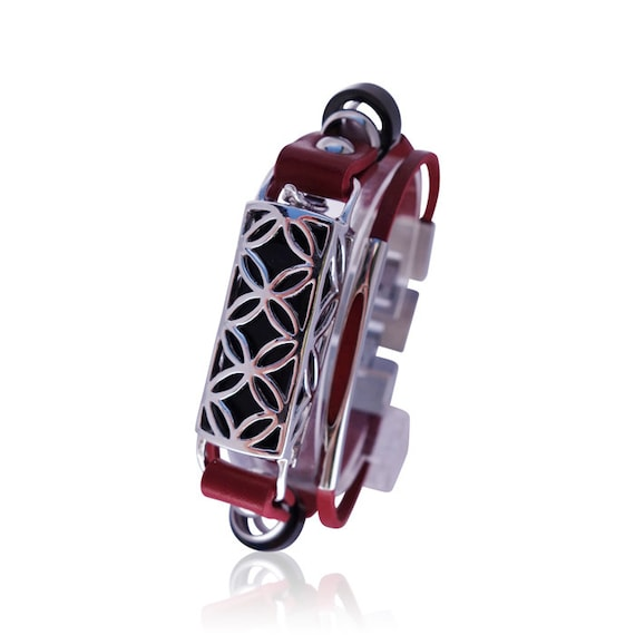 Flex (1st generation) Bracelet FUSION for Flex (1st generation) - RED/ Silver -  made from 925 sterling silver and leather