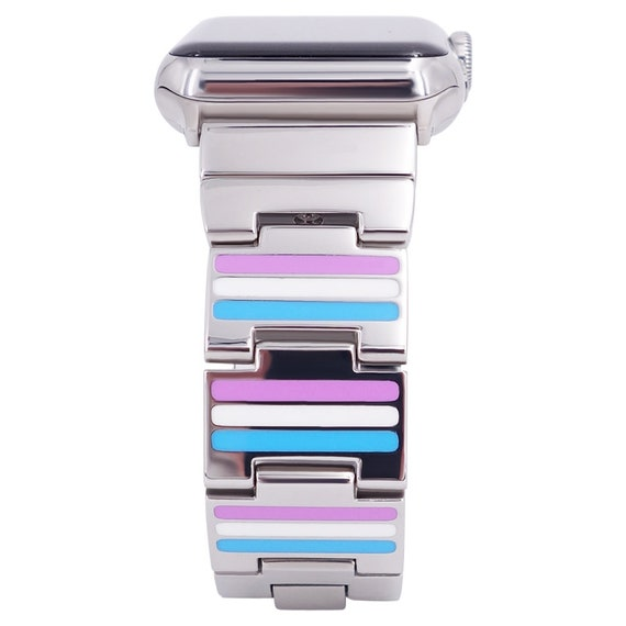 Reversible Apple Watch Band - Color Pink, Blue, White/Black Enamel - Stainless Steel - silver, gold, rose gold or black finished
