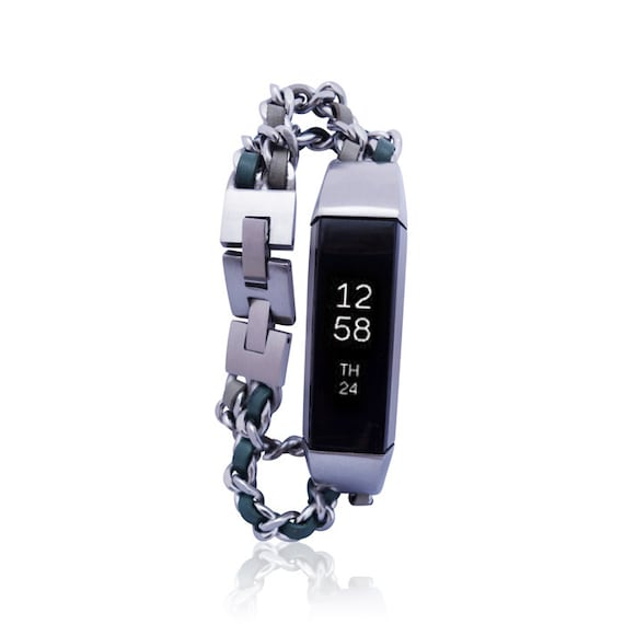 Bracelet NOE  for Fitbit Alta - Alta HR - Ace -Jewelry - Stainless steel and real leather