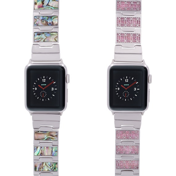 Reversible Apple Watch Band - Shell/Glitter - Stainless Steel - silver, gold, rose gold or black finished