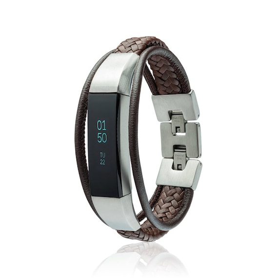 Bracelet Aurel 2 - for Fitbit Alta - Alta HR - Ace - Jewelry -Brown - Stainless steel and real leather