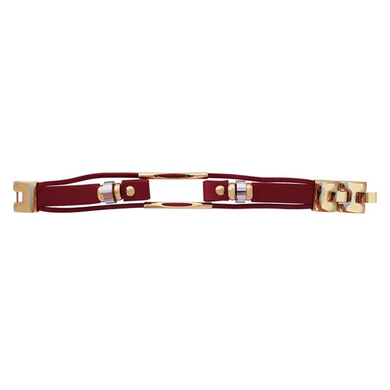 Interchangeable leather band for Flex (1st generation) by fitjewels - Red/Gold
