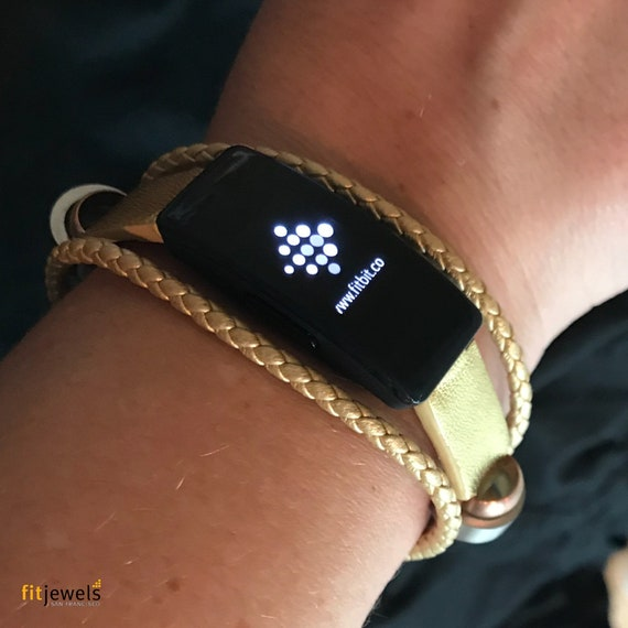 Pre-Order: Fusion for Fitbit Inspire -  Bracelet Fusion - Black, Gold or Grey - leather replacement band - ships end of April 2019