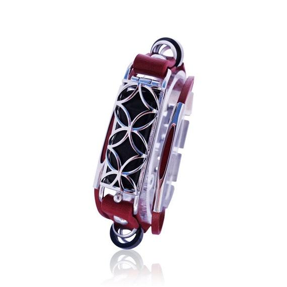 Flex Bracelet  for Flex (1st generation) - Red/Silver - made from stainless steel and leather