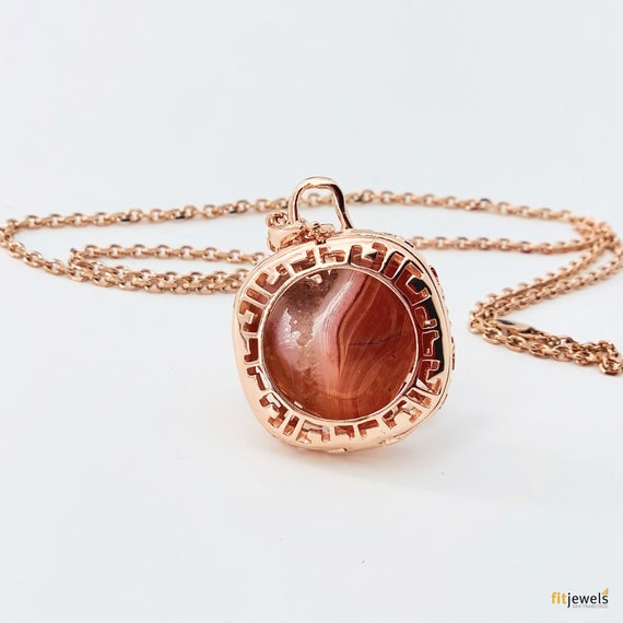 Crystal Locket Necklace - Carnelian Crystal Heart - Crystal Necklace - Carnelian Necklace - Gold or Rose Gold plated -  Sterling Silver