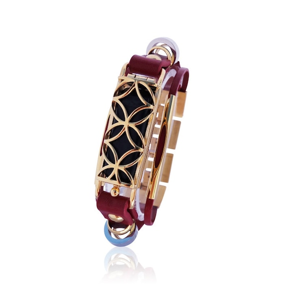 Bracelet Fusion - Flex (1st generation) - Red/Gold made from stainless steel and leather