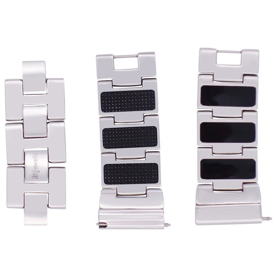 Reversible Watch Band - 22mm - Carbon/ Black Enamel - Stainless Steel - silver, gold, rose gold or black finished