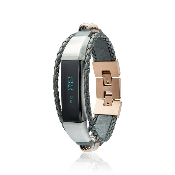 Bracelet Aurel - Grey / Rose Gold - for Fitbit Alta - Alta HR - Ace - Jewelry -Stainless steel and real leather