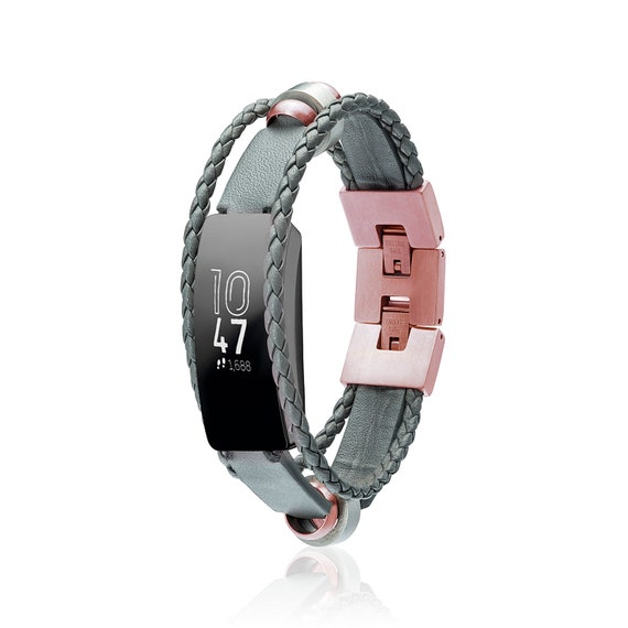 Fusion for Fitbit Inspire -  Bracelet Fusion - Black, Gold or Grey - leather replacement band