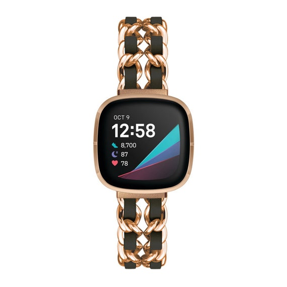 Fitbit Versa 3 / Fitbit Sense Watch Band - Noe - gold - stainless steel and leather
