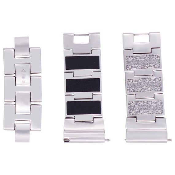 Reversible Watch Band - 22mm - Glitter / Leather - Stainless Steel - silver, gold, rose gold or black finished