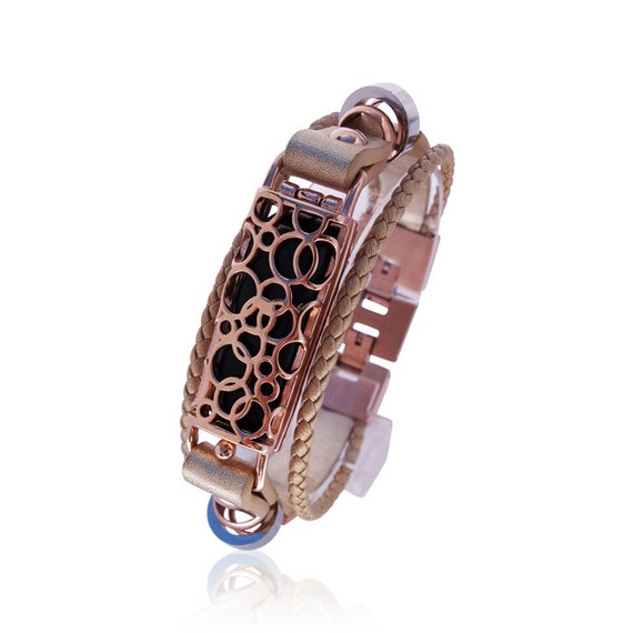 Flex Bracelet SOMA - Rose Gold - made from stainless steel and leather