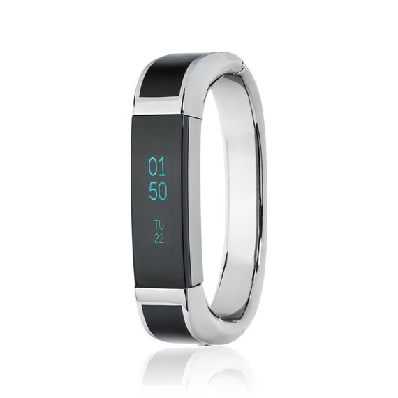 Bangle ARTEMIS - for Fitbit Alta - Alta HR - Ace - Jewelry -Stainless Steel & Black Enamel