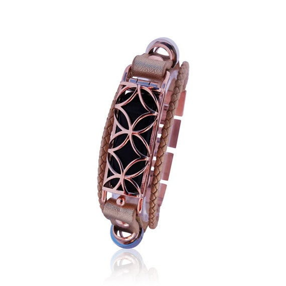 Bracelet Fusion for Flex (1st generation) - Rose Gold - made from stainless steel and leather