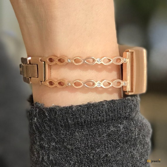 Fitbit Charge 3 Bangle Infinity - silver or rose gold finished with cubic zirconia