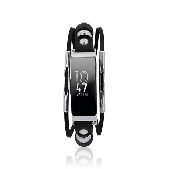 Rockstar for Fitbit Inspire -  Bracelet Rockstar with tube bars - Black or Red - leather replacement band