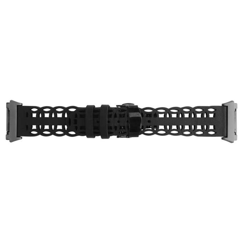 stainless steel and black leather FLORA Fitbit Ionic Band