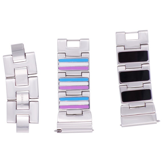 Reversible Watch Band - 22mm - neon/black Enamel  - Stainless Steel - silver, gold, rose gold or black finished