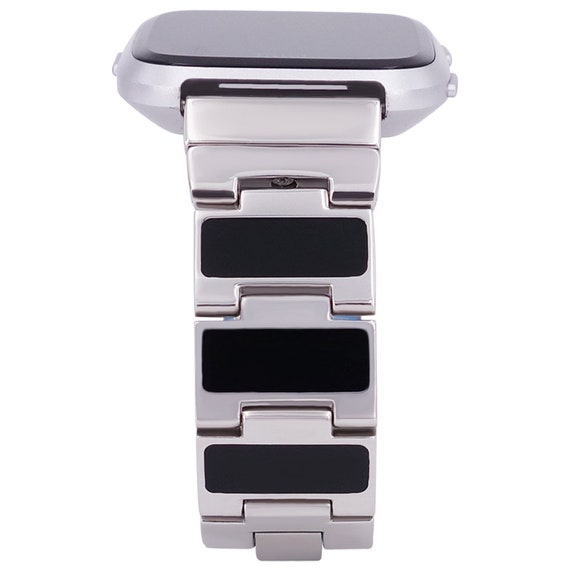 Reversible Watch Band for Fitbit Versa - Color Enamel/Black Enamel  - Stainless Steel - silver, gold, rose gold or black finished