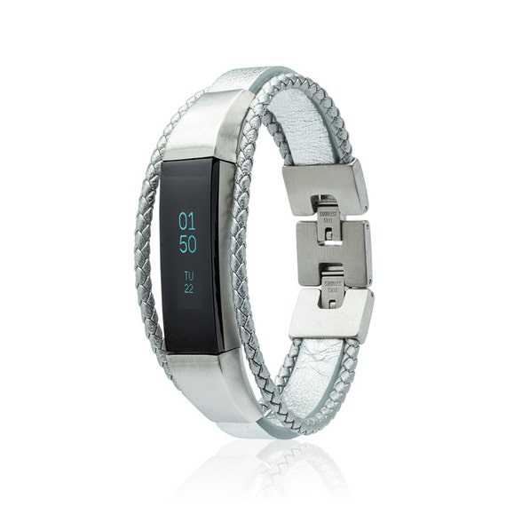 Bracelet  Aurel -  for Fitbit Alta - Alta HR - Ace -Jewelry - Silver - Stainless steel and real leather