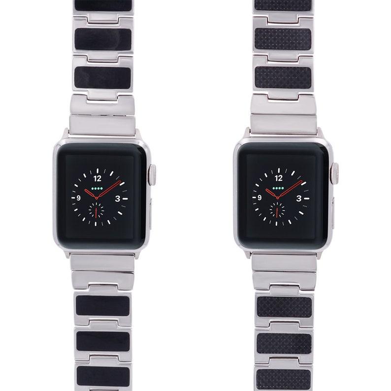 d317232c87e6 Reversible Apple Watch Band Carbon Black Enamel Stainless