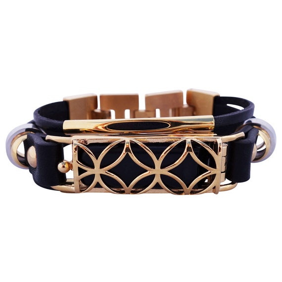 Bracelet Fusion - fitjewels - Flex (1st generation) - Black/Gold made from stainless steel and leather