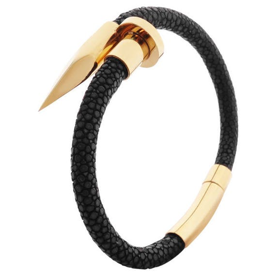 STINGRAY Nail Bracelet - stainless steel and leather
