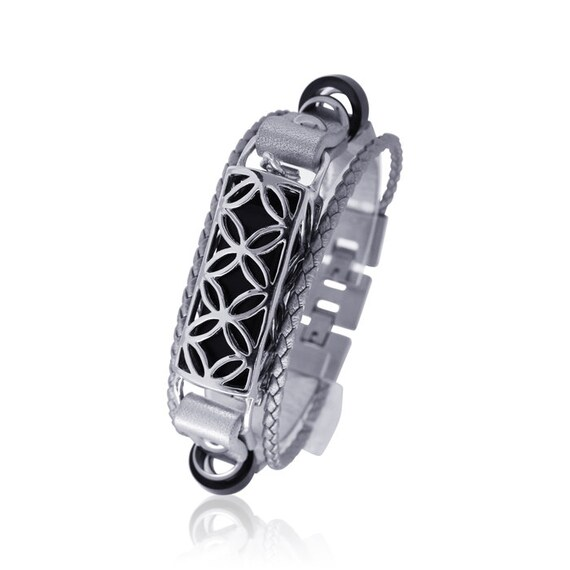 Bracelet FUSION- SILVER - Flex (1st generation)-  made from 925 sterling silver and leather