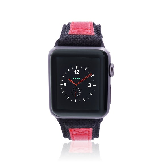 Apple Watch Band - NYLON - Black and Red - stainless steel and leather